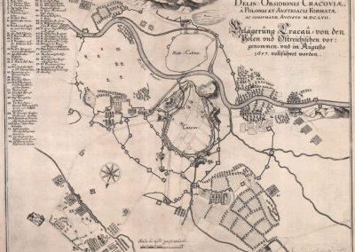1657, Plan oblężenia Krakowa przez sprzymierzone wojska polsko-austriackie (wyd. niemieckie)