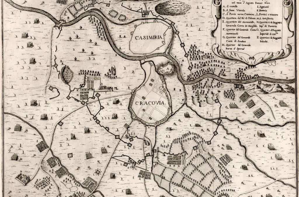 1657, Plan oblężenia Krakowa przez sprzymierzone wojska polsko-austriackie (wyd. włoskie)