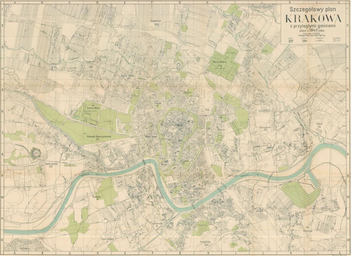 1947 Szczegolowy Plan Krakowa Z Przyleglymi Gminami