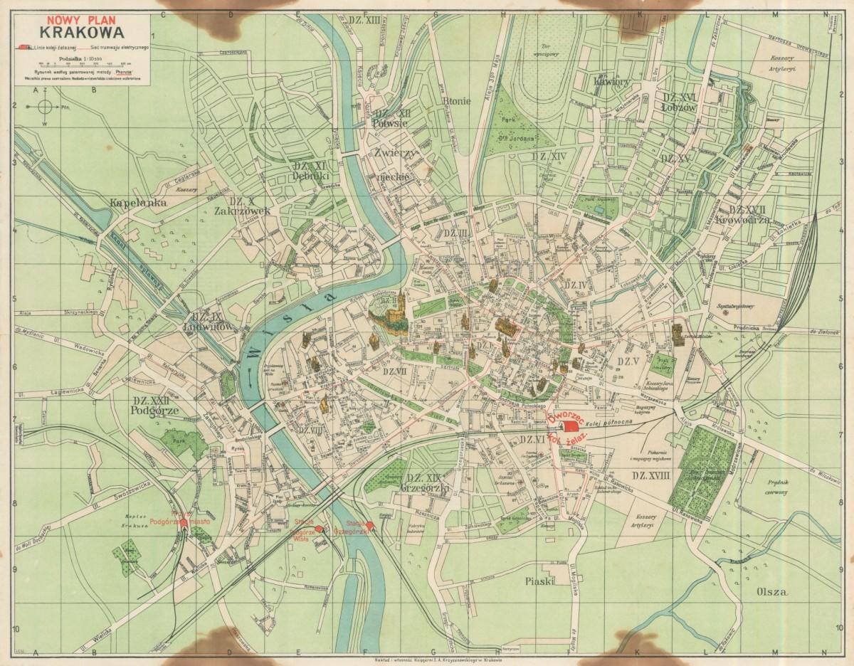 1930 Nowy Plan Krakowa Cartographia Cracoviana Krakow I