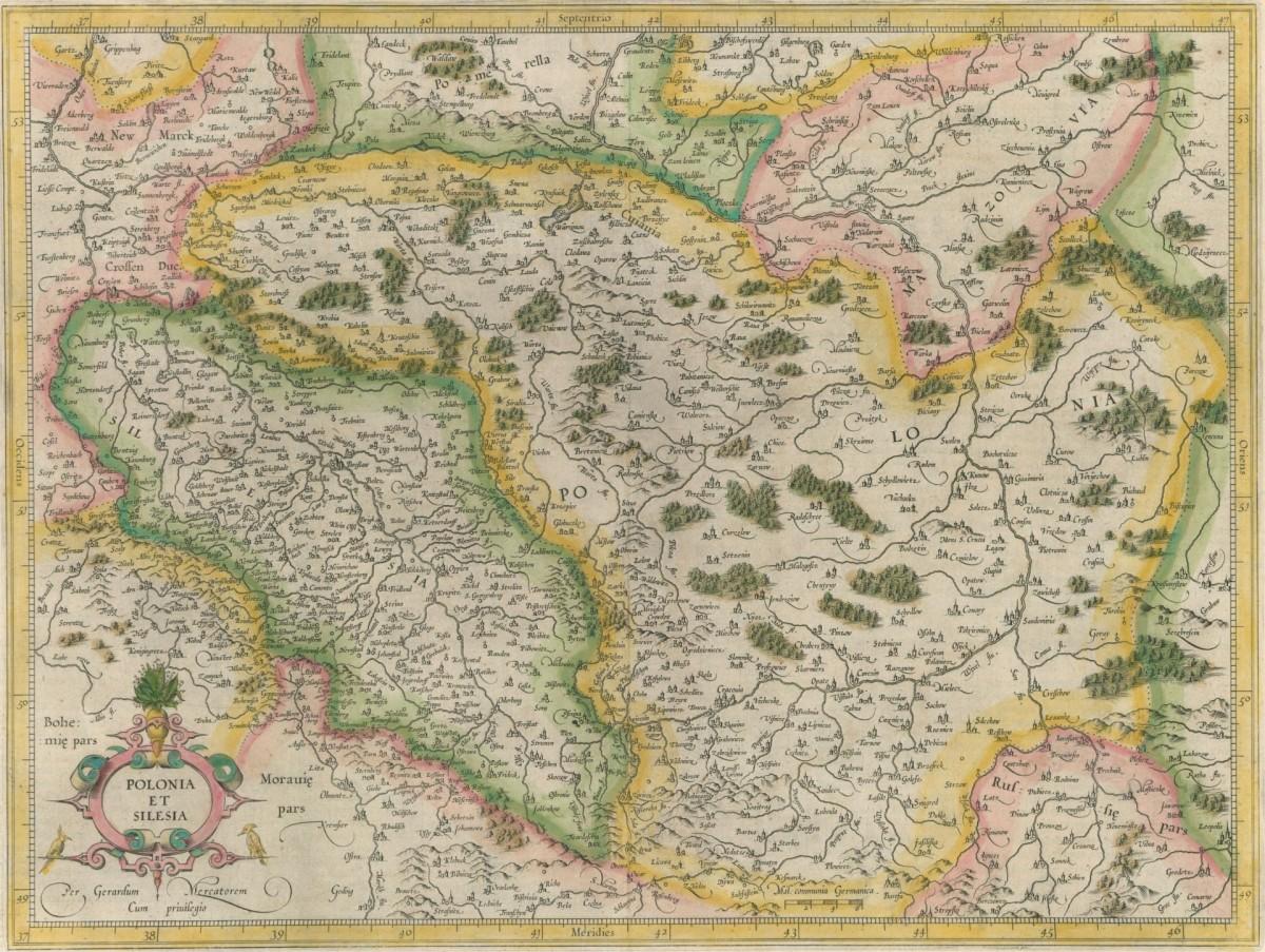 1607 Mapa Polski I Slaska Gerarda Mercatora Cartographia