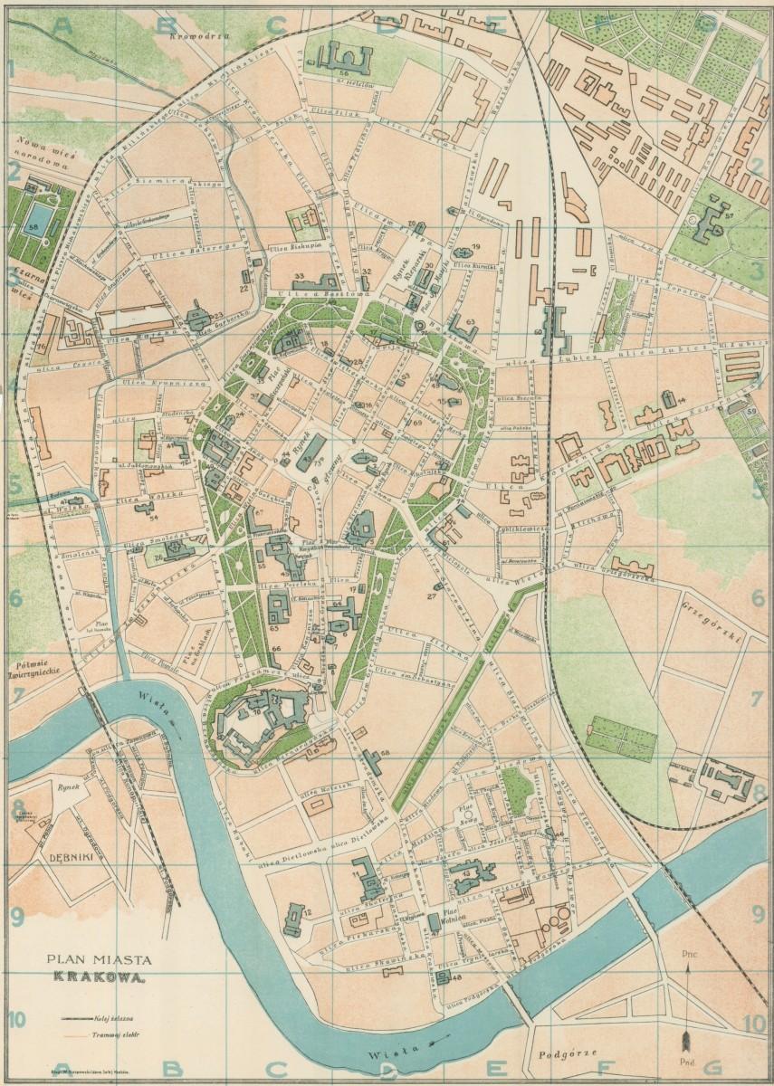 1910 Plan Miasta Krakowa J Jezierskiego Cartographia