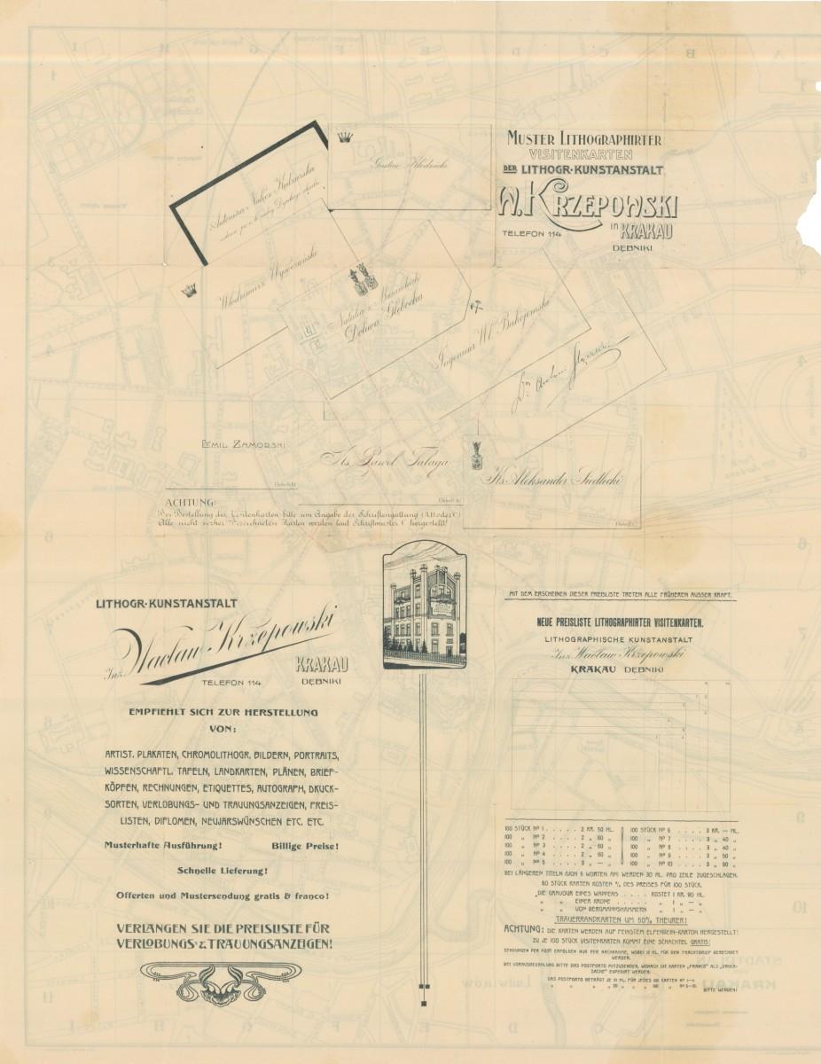 1914 Stadtplan Von Krakau Cartographia Cracoviana