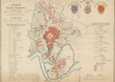 1836, Plan miasta Krakowa w obrębie okopów / Plan de la ville de Cracovie