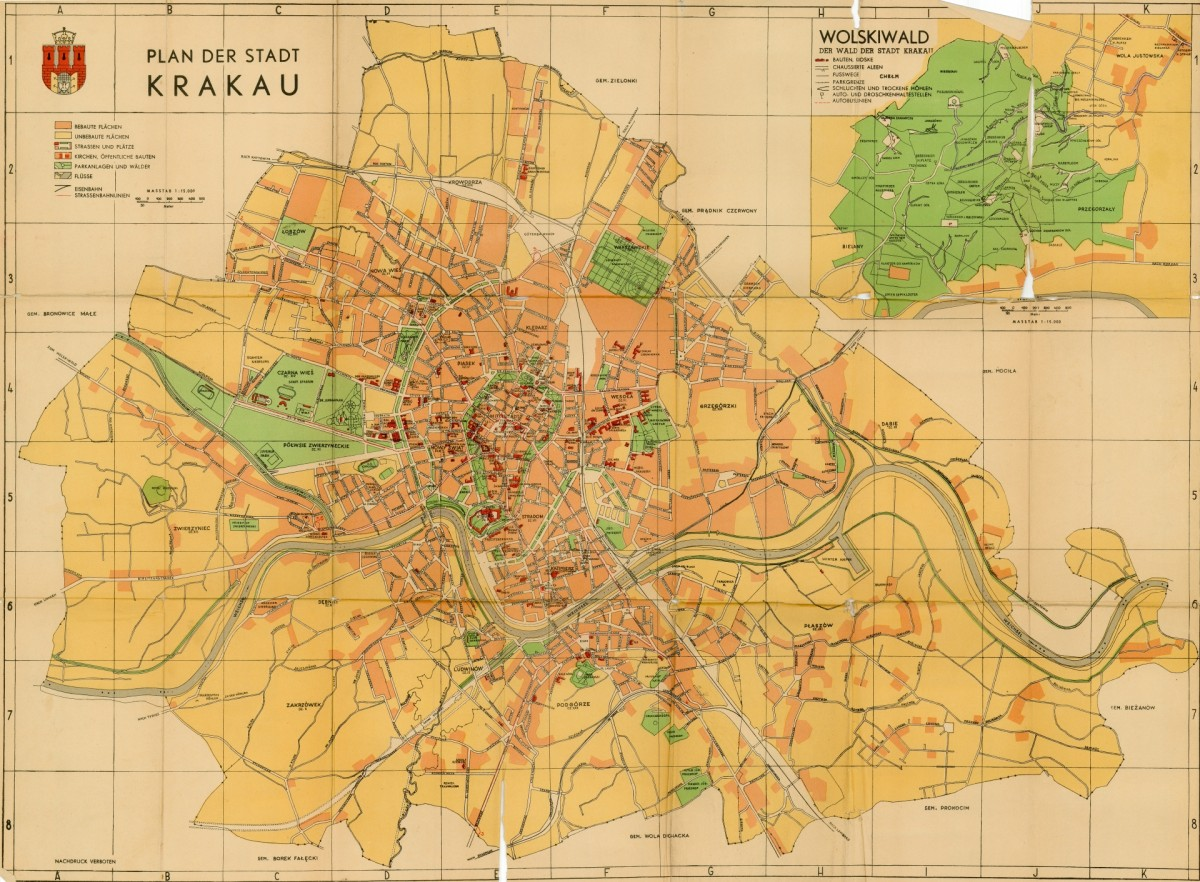 1941 Plan Der Stadt Krakau Cartographia Cracoviana Krakow I