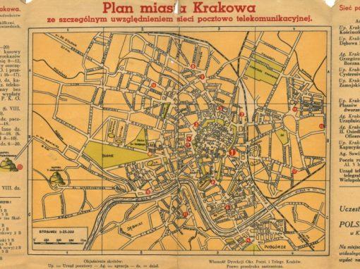 1939, Plan miasta Krakowa ze szczególnym uwzględnieniem sieci pocztowo telekomunikacyjnej