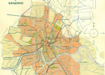 1930, Plan sieci tramwajowej i autobusowej krakowskiej miejskiej koleji elektrycznej w Krakowie