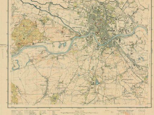 1936, KRAKÓW – wydanie turystyczne mapy topograficznej WIG 1:25 000